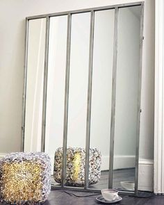 Window Frame Wall Mirror with Aged Silver Metal Frame Mirrored Console Table, Framed Mirror Wall, Window Frame Mirror, Mirror Wall Decor, Window Mirror, Silver Frame, Crittall, Silver Framed Mirror, Metal Frame