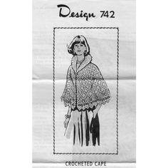 Pineapple Lace Crochet Cape Pattern with Large Collar  l  Mail Order Design 742  l  Vintage Knit Crochet Pattern Shop