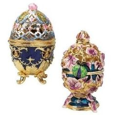Russian Royal Garden Faberge-style Collectible Enameled Egg - 2 Sets