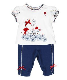 Blue & White Teddy Top & Leggings Set by Brums