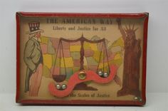 """Antique """"The American Way"""" Dexterity Game Uncle Sam Liberty Patriotic Tin Litho"""