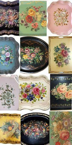 You can find an array of vintage tole trays at flea markets. Biddy Craft #vintagekitchen