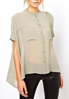 Grey Irregular Swallowtail Band Collar Chiffon Blouse
