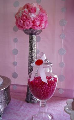 Diy baptism centerpieces for tables simple pink christening table with pompoms gold pink - Simple baptism centerpieces ...