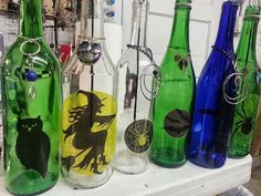 Recycled Wine Bottle Incense Burner - Halloween Style
