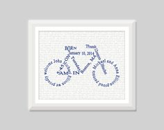 This listing is for one (unframed) unique baby boy bicycle birth announcement wall art print highlighting the birth stats of your little one or