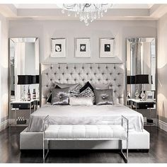 the_real_houses_of_ig: Glamorous bedroom decor via @stallonemedia