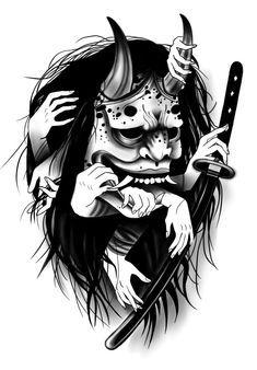 Oni Mask Tattoo, Samurai Mask Tattoo, Hanya Tattoo, Tattoo Sketches, Tattoo Drawings, Body Art Tattoos, Sleeve Tattoos, Japanese Demon Tattoo, Japanese Oni Mask