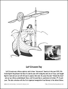 leif ericsson day coloring page october worksheets