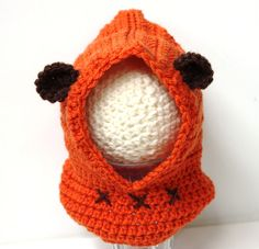 Ewok Hooded Cowl - Star Wars Inspired Orange Crochet Cowl with Hood, Sizes from Infant to Adult  Soft and warm hooded Ewok inspired cowl with