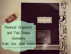 "My current giveaway! A Financial organizer and ""paid"" stamp from See Jane Work - so pretty and functional!"