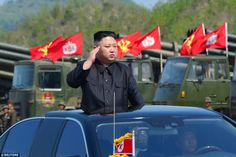 Leader Kim Jong-Un  saluted his military from the top of a private car as they drove through the demonstration