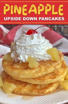 Pineapple Upside Down Pancakes Recipe -- This super quick and easy breakfast idea is a favorite Sunday breakfast for my family. It's super fun and mad Pineapple Upside Down Pancake Recipe, Pineapple Pancakes, Pineapple Upside Down Cake, Sunday Breakfast, Quick And Easy Breakfast, Fun Easy Breakfast Ideas, Christmas Breakfast, Pancakes Easy, Cheesecake