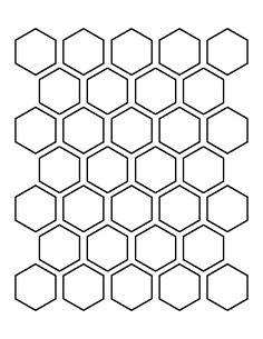 1.5 inch hexagon pattern. Use the printable outline for crafts, creating stencils, scrapbooking, and more. Free PDF template to download and print at http://patternuniverse.com/download/one-and-a-half-inch-hexagon-pattern/
