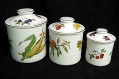 Set of Three Evesham Royal Worcester Canisters Fine Porcelain