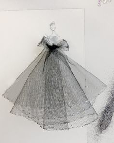 Fashion illustration - Dior dress sketch with tulle & glitter // Katie Rodgers