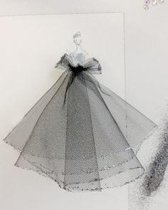adding tulle to fashion illustrations
