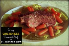 Easy Guinness Corned Beef and Cabbage Recipe for St Patrick's Day! Corned Beef Recipes, Corn Beef And Cabbage, Cabbage Recipes, Weeknight Dinners, Pot Roast, St Patricks Day, Steak, March