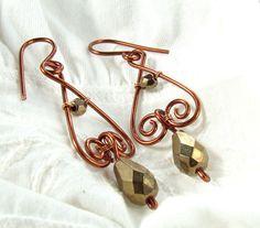 Bronze dangle earrings drop beads copper by VeraNasfaJewelry, $21.00