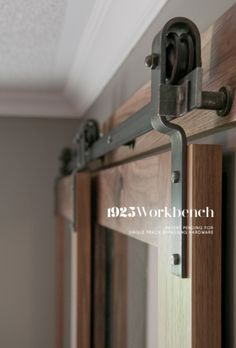 Barn Door Hardware -- bypass doors on a single rail. This would work to replace the closet doors once we Barn Door Hardware -- bypass doors on a single rail. This would work to replace the closet doors once we have the murphy bed installed. Barn Door Closet, Sliding Closet Doors, Sliding Barn Door Hardware, Sliding Door Rollers, Sliding Door Design, Interior Barn Doors, The Doors, Double Doors, Door Handles