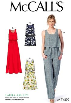 9629ae63f67 Jumpsuit Pattern Bodice Overlay Dress Pattern McCall s by blue510 Romper  Pattern