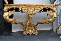 Grosse Console Bois Doré, Style Louis XIV, XIXème Siècle, Trianon Antiquités, Proantic