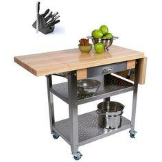 John Boos CUCE50 Cucina Elegante Drop Leaf Kitchen 50 inch x 20 inch Cart with Henckels 13 Piece Knife Block Set - Overstock™ Shopping - Great Deals on John Boos Kitchen Carts