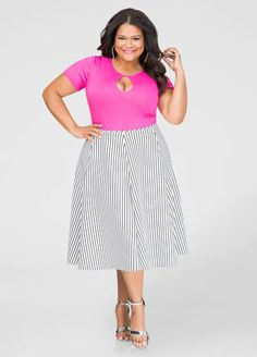 4ffda4fc9c2c Striped Neoprene Flare Skirt Striped Neoprene Flare Skirt Trendy Plus Size  Fashion