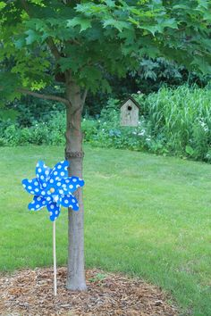Giant pinwheels make a great outdoor party decoration!