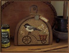 Bird Tales- Primitive OriginaL Punch NeedLe Chickadee Bicycle Daisies Hornbook #NaivePrimitive