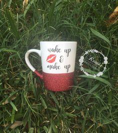 Wake up and Make up coffee mug, Makeup lover, Glitter Coffee Mug, New mom mug, Coffee lover, Friendship gift, Funny Mug, Makeup artist gift by Remiscrafts on Etsy