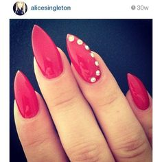 red stiletto acrylic nails ❤ liked on Polyvore featuring beauty products, nail care, nail treatments and nails