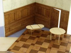 panelled walls and wood floors plus lots of tips on model making and different types on finishes