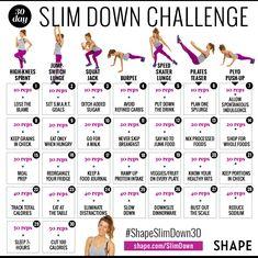 Slim Down Challenge Calendar