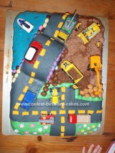 Fun construction truck cake
