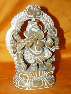 Ganesha Statue Eight Armed Fluting Prabha Stone Ganesh Sculpture India