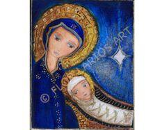 O nuit Divine - Reproduction de peinture de FLOR LARIOS (imprimé de 20 x 25 cm)