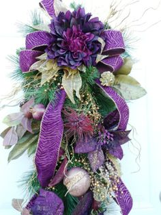 swags wreaths christmas | Christmas Winter Swag Burgundy Purple Gold by HungUpOnWreaths,