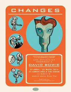 Poster for David Bowie's Changes exhibition held by Susanita's Little Gallery in Madrid, April 2014. By Koldo Barroso.  #davidbowie #koldobarroso #illustration #poster #spaceoddity #popart