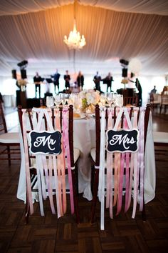 mr mrs chairs for the bride and groom // handmade wedding decor