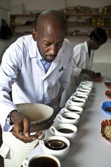 Andrew Rugasira at the Good African coffee company's factory in Kampala, Uganda. Photograph: Jonathan Torgovnik/Getty Images