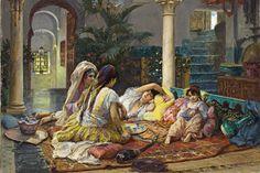 """In the Harem (1894)"" by artist Frederick Arthur Bridgman (1847-1928)."