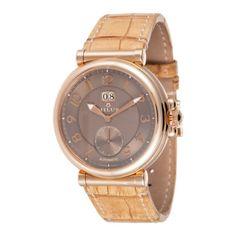 Men's Zetios Automatic Watch in Red Gold, Copper & Tan
