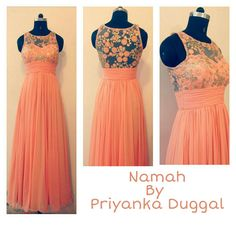 A peach Georgette gown . Detailed with threadwork and sequin floral embroidered. the perfect bridesmaid attire.
