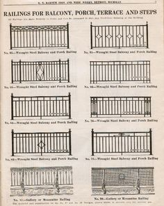 "wrought iron fence ideas original c. 1929 e. barnum iron & wire works softbound ""no. 750 hardware catalog"" featuring iron fencing, window guards, fire escapes and other iron ornament Front Porch Railings, Wrought Iron Stair Railing, Metal Railings, Wrought Iron Fences, Balcony Grill Design, Balcony Railing Design, Balustrades Avant, Iron Gate Design, Iron Balcony"