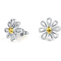 Bling Jewelry Divine Daisy Studs ($21) ❤ liked on Polyvore featuring jewelry, earrings, accessories, stud-earrings, daisy earrings, two tone earrings, studded jewelry, daisy jewelry and two tone jewelry