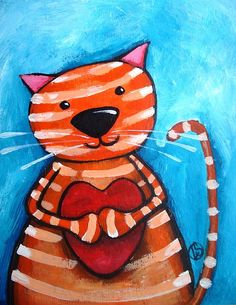 Portrait of a Cat inspired by my love for my Kitty. Love Canvas, Canvas Art, Painting For Kids, Art For Kids, Stencil, Orange Cats, Cat Crafts, Cat Colors, Whimsical Art