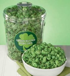 Green, candied popcorn! Yummy, sweet, and crunchy, this St. Patrick's Day popcorn is made similarly to homemade caramel corn, but green food coloring is added for holiday flair. Hulk Party.