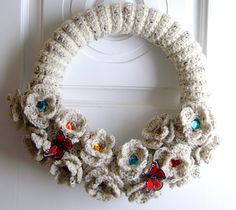 12 Inch Crochet Rose Wreath with Butterfly by GreetingTheSeasons
