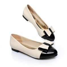 $21.99 Faux Patent Leather Two Tone Color Design Bow Decor Flats @ MayKool.com